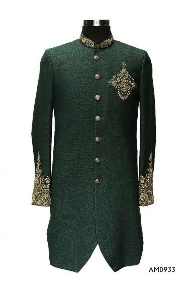 Green  Indo Western With Zardosi Hand Work Mid Thai Length Sherwani Suit