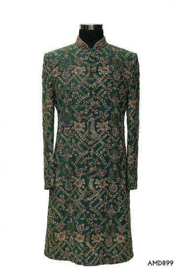 Green Sherwani With Zardosi Hand Work Sherwani Suit