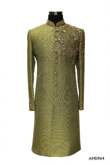 Olive Green Sherwani With Zardosi Hand Work  Sherwani Suit