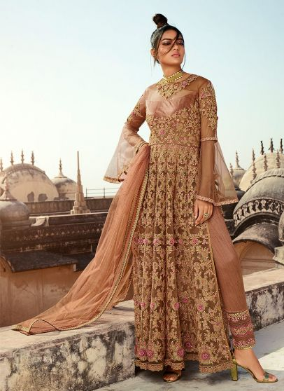 Beige and Gold Embroidered Lehenga/ Pant Sytle Anarkali