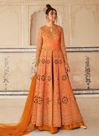 Light Orange Embroidered Lehenga Anarkali