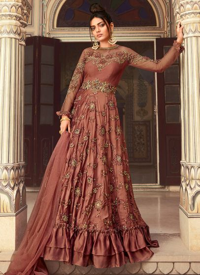 Rust Pink and Gold Embroidered Anarkali