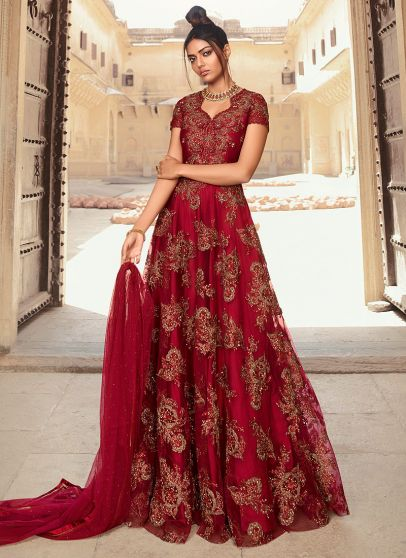 Reddish Maroon and Gold Embroidered Anarkali