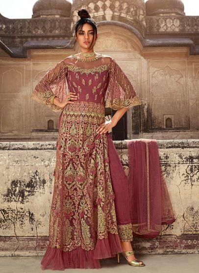 Mauve Pink and Gold Embroidered Lehenga/ Pant Sytle Anarkali