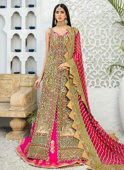 Olive Stretch Embroidered Pakistani Lehenga