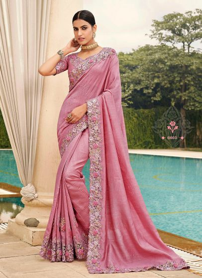Light Pink Floral Embroidered Saree