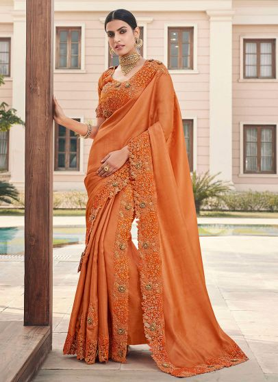 Orange Floral Embroidered Saree
