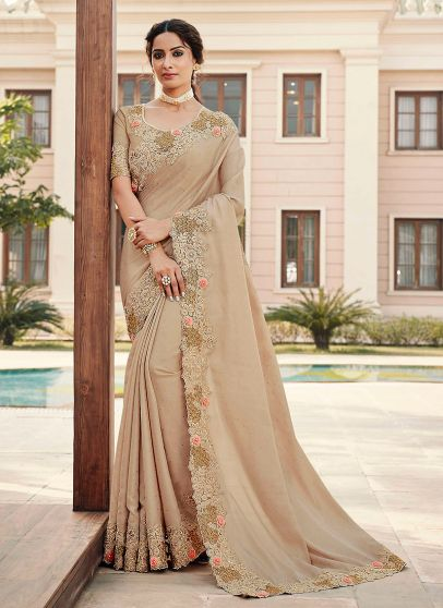 Light Grey and Gold Embroidered Saree