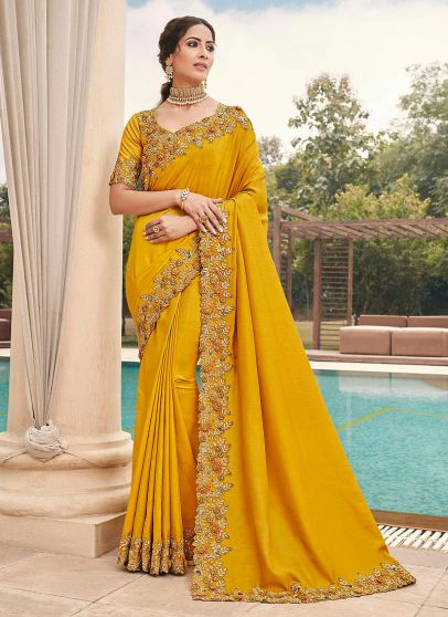 Yellow and Gold Embroidered Saree