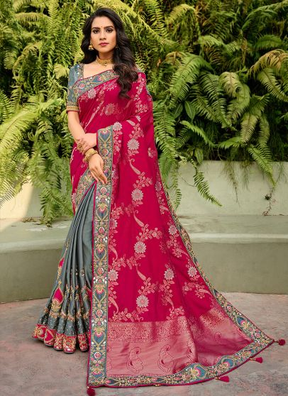 Pink and Grey Embroidered Saree