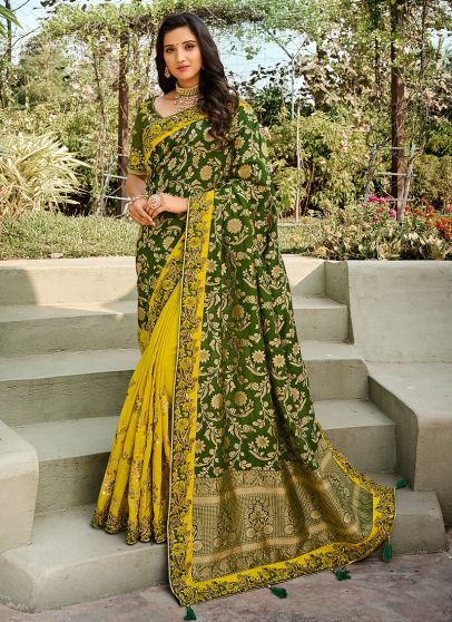Yellow and Green Embroidered Saree