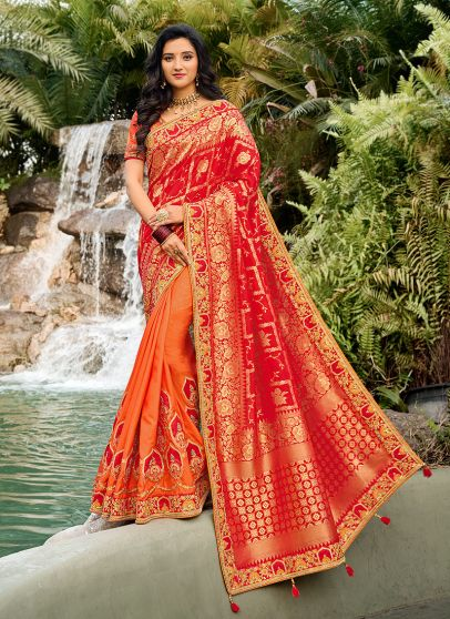 Peach and Red Embroidered Saree