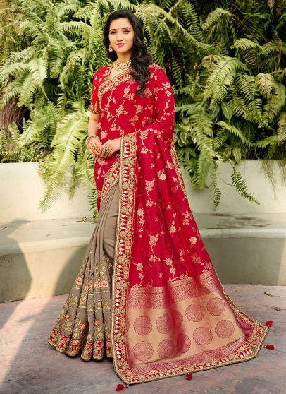 Red and Grey Embroidered Saree