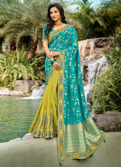 Aqua and Green Embroidered Saree