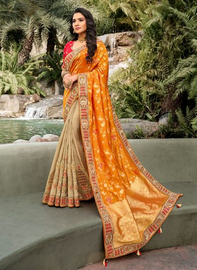 Yellow and Beige Embroidered Saree