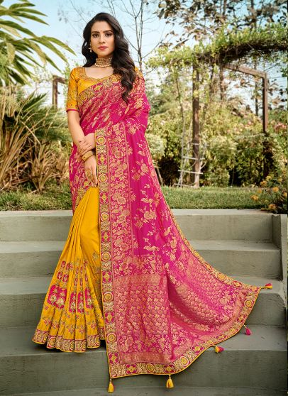 Pink and Yellow Embroidered Saree