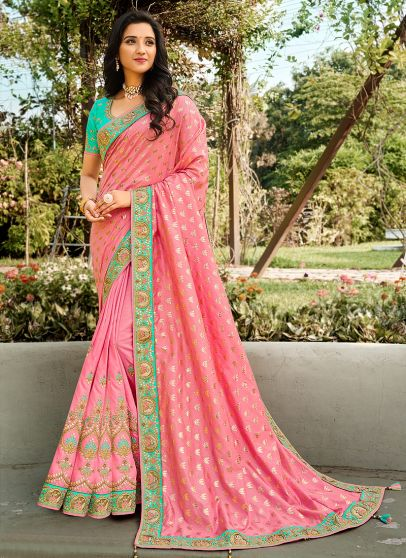 Light Pink and Sea Green Embroidered Saree