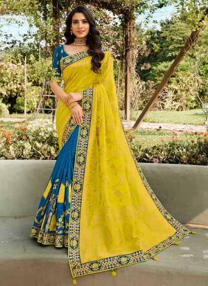 Yellow and Blue Embroidered Saree