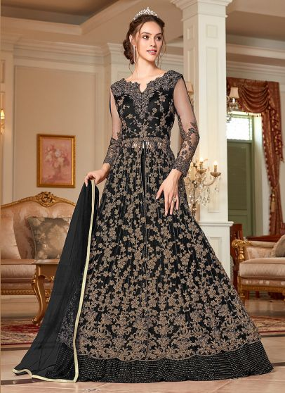 Black and Gold Embroidered Lehenga/ Pant Style Anarkali