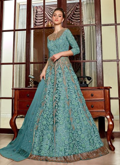 Aqua Blue Embroidered Lehenga/ Pant Style Anarkali