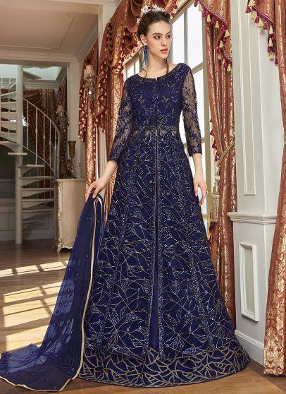Navy Blue Embroidered Lehenga/ Pant Style Anarkali