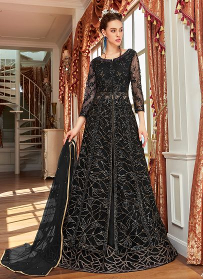 Black Embroidered Lehenga/ Pant Style Anarkali
