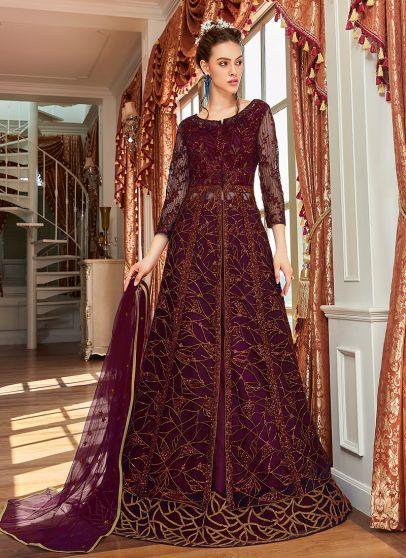 Purple Embroidered Lehenga/ Pant Style Anarkali