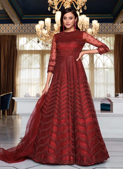 Maroon Heavy Embroidered Anarkali Gown
