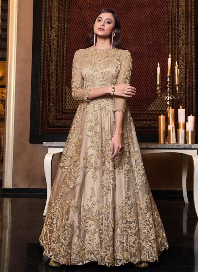 Beige and Gold Embroidered Anarkali Gown