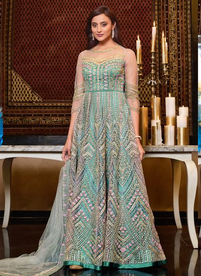 Mint Blue and Gold Embroidered Anarkali