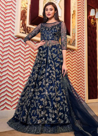 Navy Blue and Gold Embroidered Lehenga Anarkali
