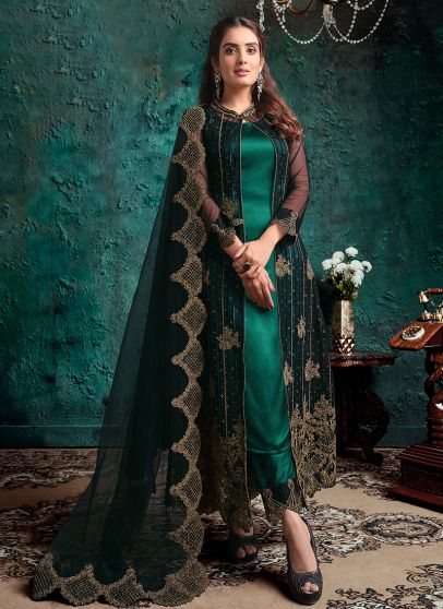 Rama Green Embroidered Jacket Style Suit