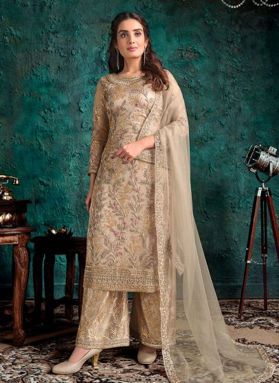 Light Beige and Gold Embroidered Pant Suit