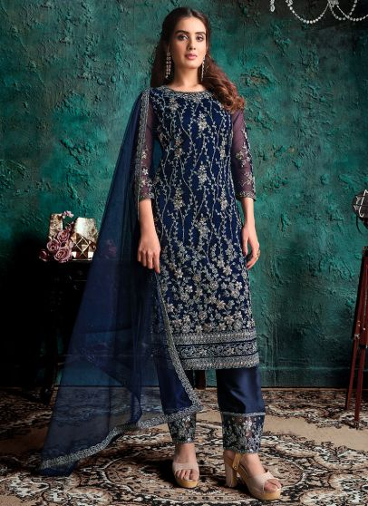 Blue and Gold Embroidered Pant Suit