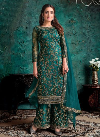 Teal and Gold Embroidered Pant Suit