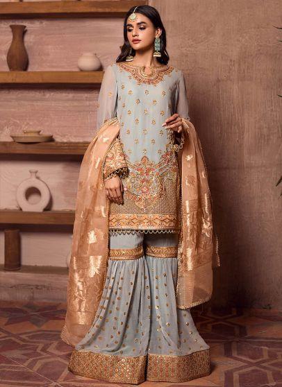 Ferouzeh Embroidered Pakistani Gharara